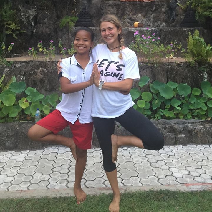 Volunteer Shaylyn with one of our students from Bali Children Foundation - September 2018