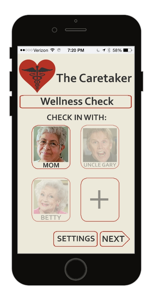 Caretaker App Home Page