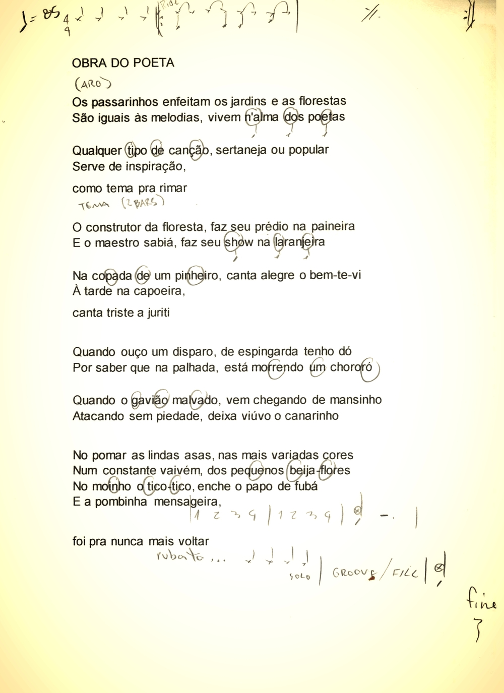 """Minhas anotações para execução da bateria em""""Obras do Poeta"""" de Chitãozinho e Xororó"""