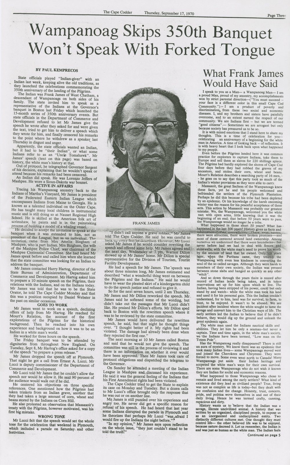 Figure 105 - Plymouth Historical Museum Archives 350th Celebration Plymouth, MA 1970 Memorabilia Frank James Article