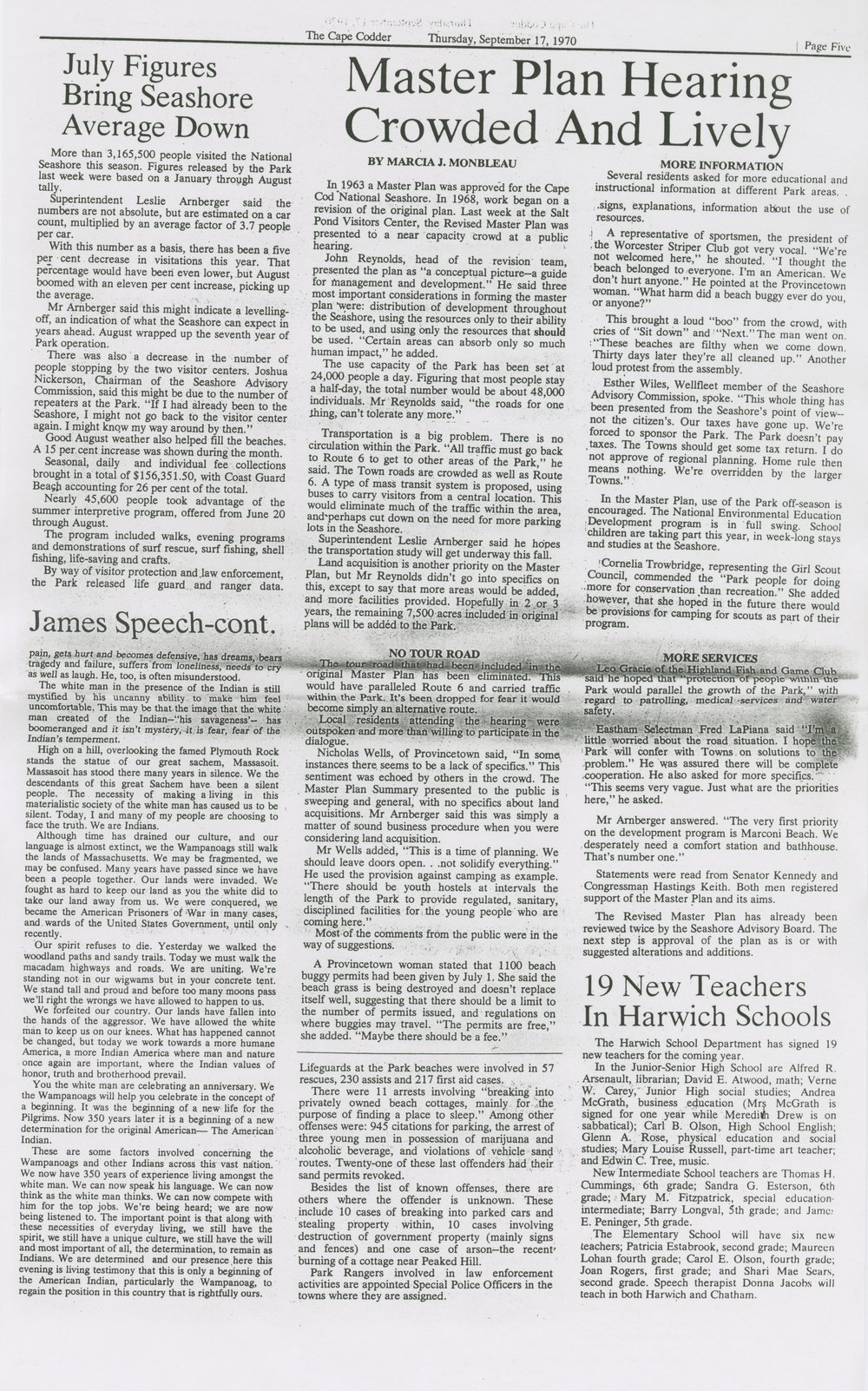 Plymouth Historical Museum Archives 350th Celebration Plymouth, MA 1970 Memorabilia Frank James Article (part 2)