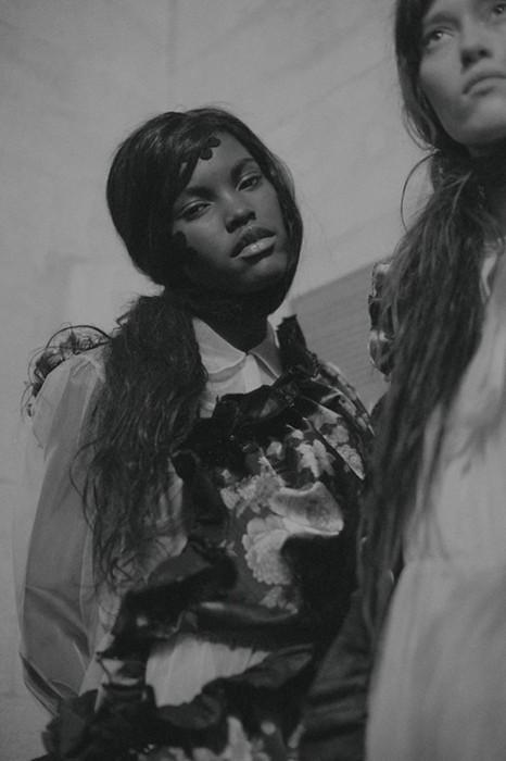 Amilna Estevao (Da Banda) backstage at Bottega Veneta AW15  Photography Lea Colombo