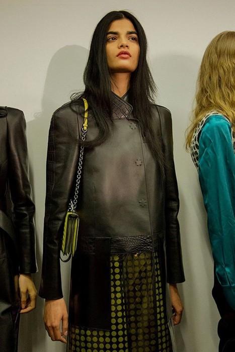 Bhumika Arora (Elite) backstage at Bottega Veneta AW15  Photography Virginia Arcaro