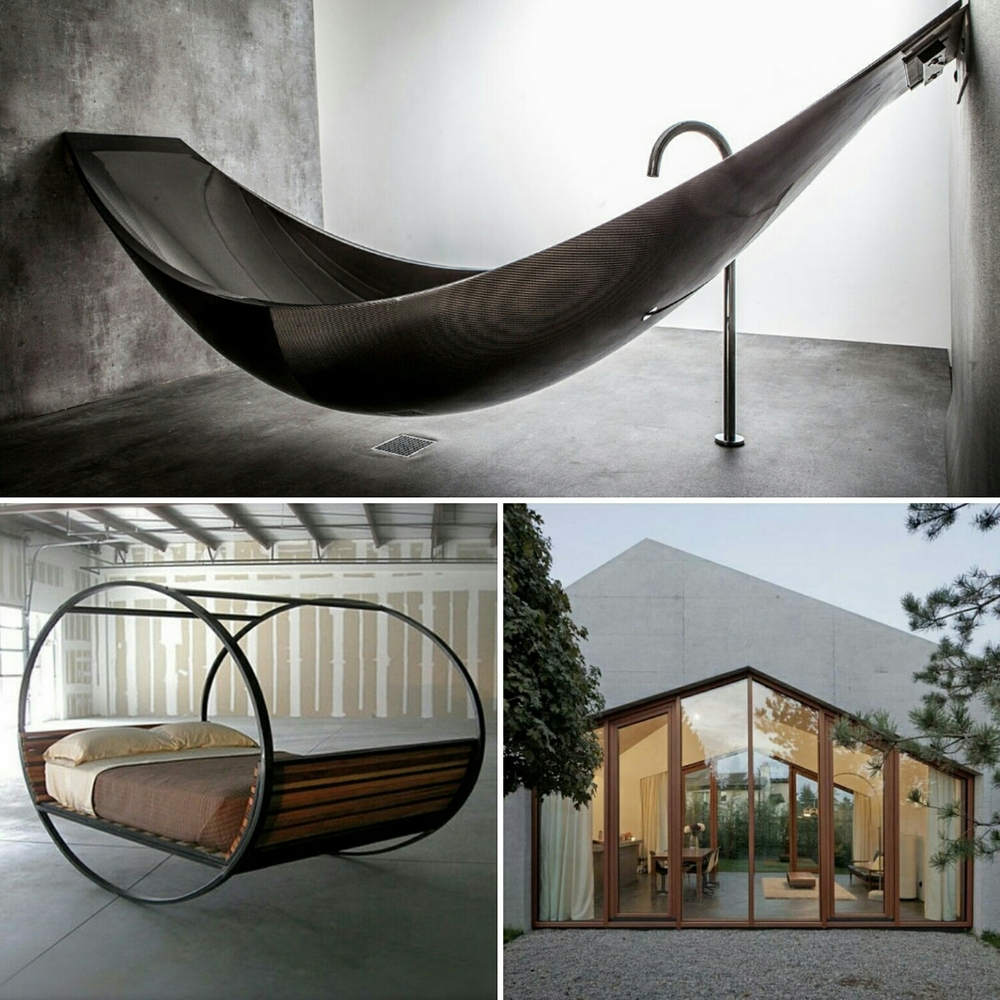 Infinite black bathtub, swinging bed