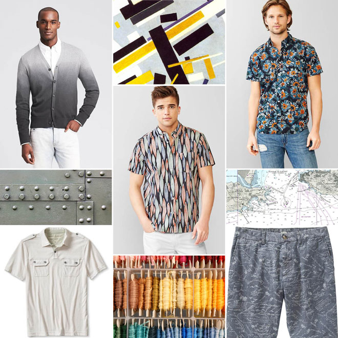 "(left to right from the top) Dip-Dye Cardigan from Banana Republic; Lived-in paint floral shirt from Gap; Lived-in surf print shirt from Gap; Vintage White Polo from Banana Republic; Men's Slim-Fit Twill Shorts (9 1/2"") from Old Navy"