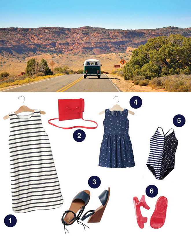 1. Stripe tank dress by Gap; 2. Leather bow crossbody by Gap; 3. Ankle wrap wedges by Gap; 4. Star denim fit and flare dress by Gap; 5. Stars & stripes colorblock swim one-piece by Gap; 6. Sparkle woven jelly sandals by Gap.