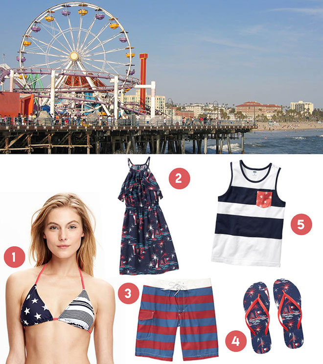 1. Women's Stars-and-Stripes String-Bikini Tops by Old Navy; 2. Girls Ruffle-Front Sundresses by Old Navy; 3. Men's Striped Board Shorts by Old Navy; 4. Women's Patterned Flip-Flops by Old Navy; 5. Boys Stars-and-Stripes Tanks by Old Navy.