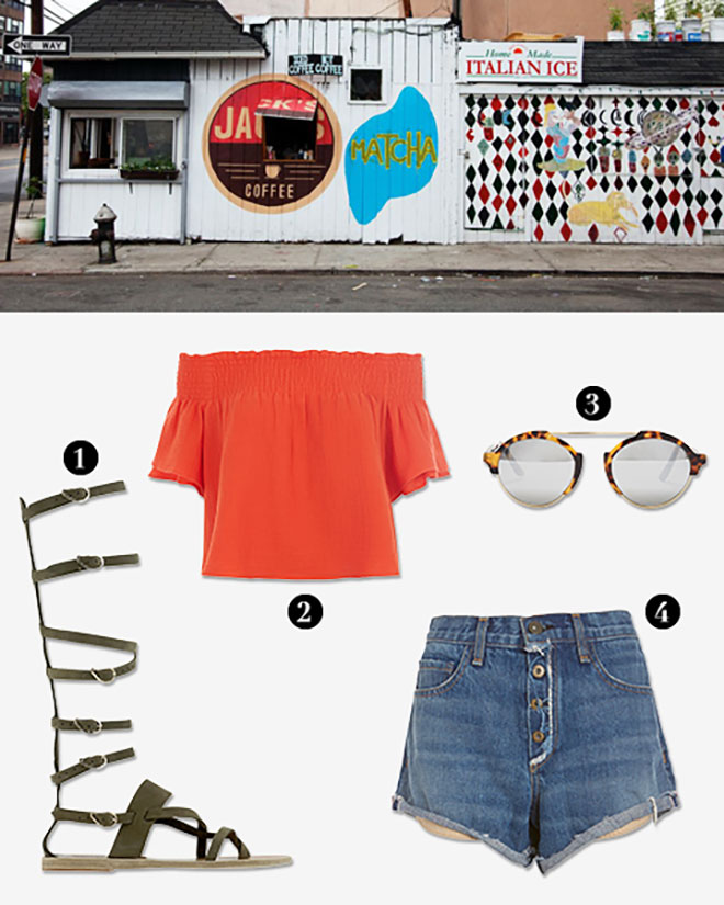 1. Ancient Greek Sandals Knee High Gladiator Flat Sandal from  Intermix ; 2. Apiece Apart Off The Shoulder Crop Top: Orange from  Intermix ; 3. Illesteva sunglasses from  Intermix ; 4. rag & bone/JEAN EXCLUSIVE Weston Exposed Fly Short from  Intermix .