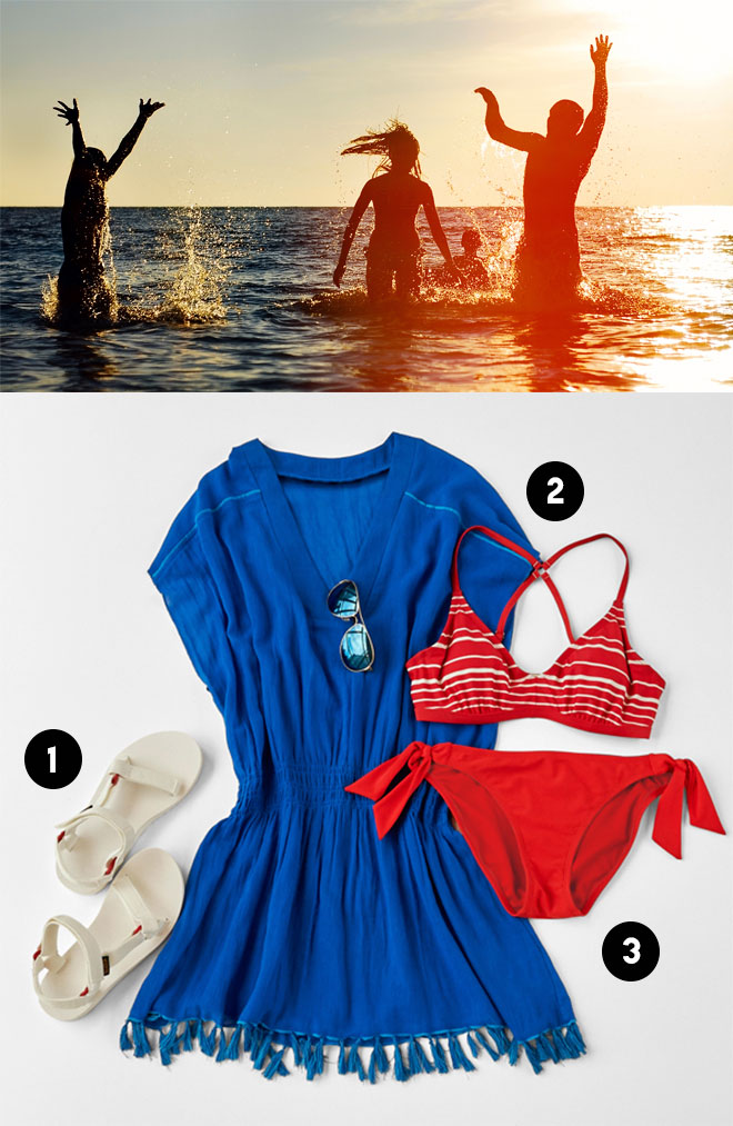 1. Original Universal Sandal by Teva from  Athleta ; 2. Bright Side Cover Up by  Athleta ; 3. Encinitas Bikini by  Athleta .