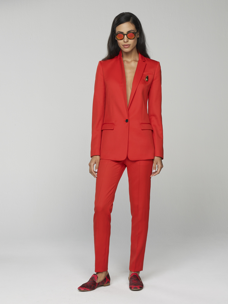 Banana Republic Spring 2016: One-Button Blazer in Tomato with Tailored Cropped Pant in Tomato