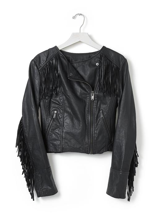 Banana Republic Fringe Leather Moto Jacket