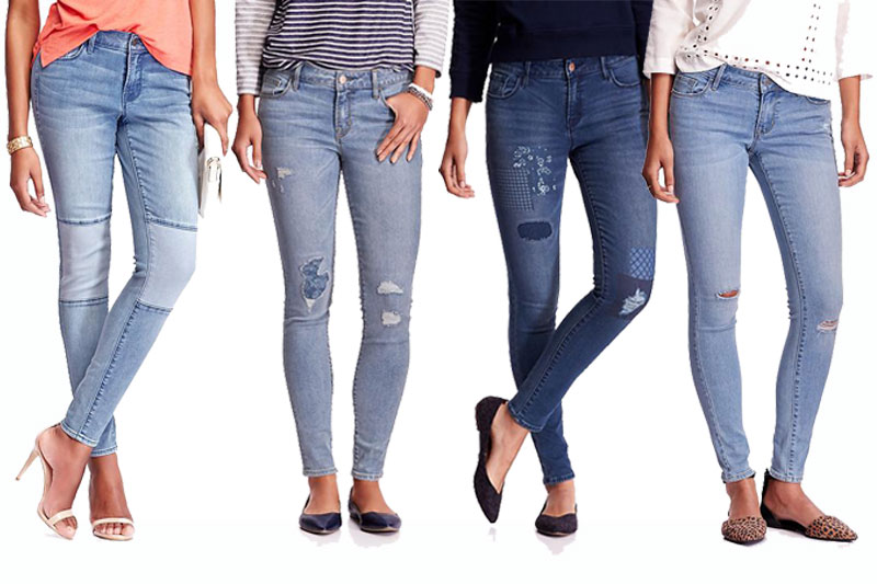 From left:  Old Navy Women's  Mid-Rise Rockstar Moto Jeans , Old Navy Women's  Mid-Rise Rockstar Distressed Jeans in Eureka , Old Navy Women's  Mid-Rise Rockstar Distressed Jeans in Ukiah , and Old Navy Women's  Low-Rise Rockstar Skinny Jeans