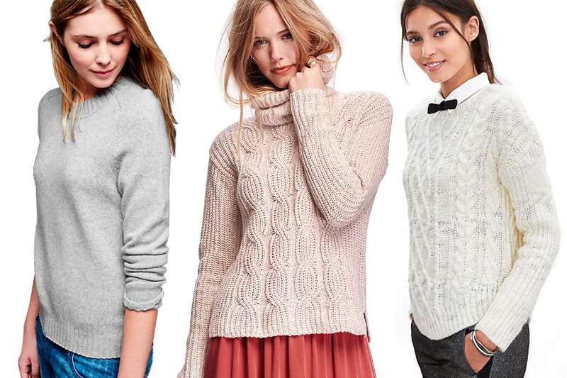 Left to Right: Gap's Cashmere Crewneck Sweater, Old Navy's Cable-Front Turtleneck Sweater,  and Chunky Cable-Knit Pullover from Banana Republic