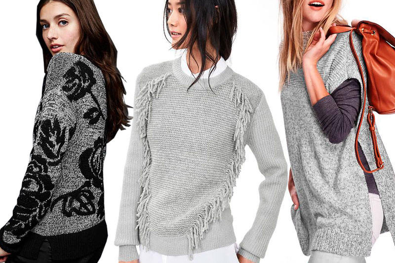 Left to Right: Gap's Floral Jacquard Pullover Sweater, Banana Republic's Fringe-Front Pullover, and Old Navy's Marled Mock-Neck Poncho Sweater