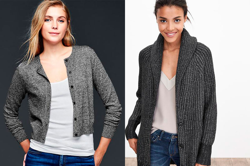 Left to Right: Gap's cropped Brooklyn Cardigan and Banana Republic's Textured Boyfriend Cardigan