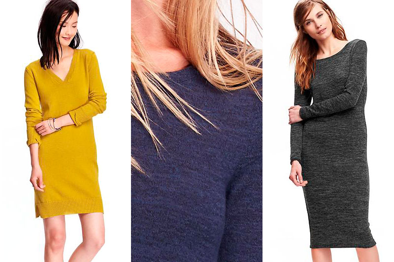 Left to Right: Old Navy's V-Neck Sweater Dress, Old Navy's Midi Sweater Dress (detail), Old Navy's Midi Sweater Dress