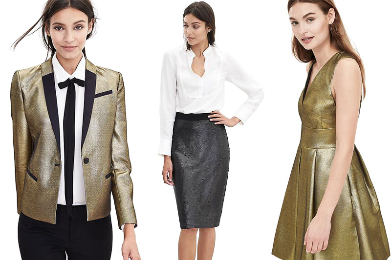 Left to right: Banana Republic's BR Monogram Gold Blazer, Banana Republic's Sequin Pencil Skirt, Banana Republic's BR Monogram Gold Fit-and-Flare Dress