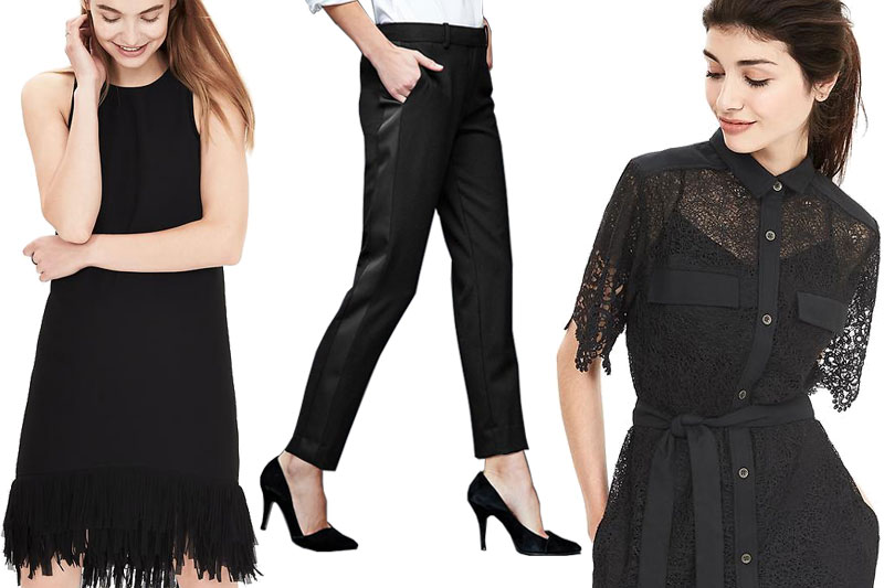 Left to right: Banana Republic's Fringe-Hem Dress, Gap's Slim Cropped Tuxedo Pants, Banana Republic's Heritage Lace Shirtdress