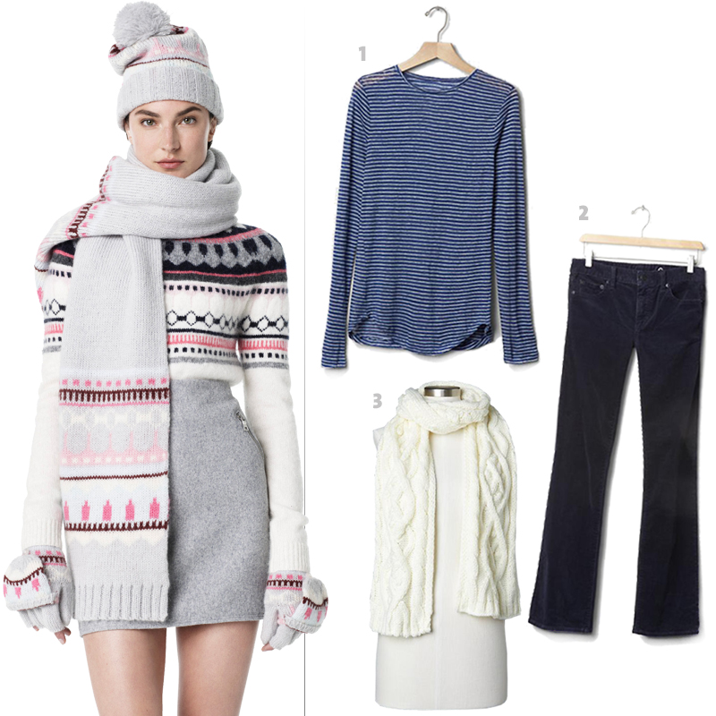 On model: Gap's Fair Isle mohair scarf, 1. Gap's linen stripe tee, 2. Gap's 1969 perfect boot cords, 3. Gap's solid cable knit scarf