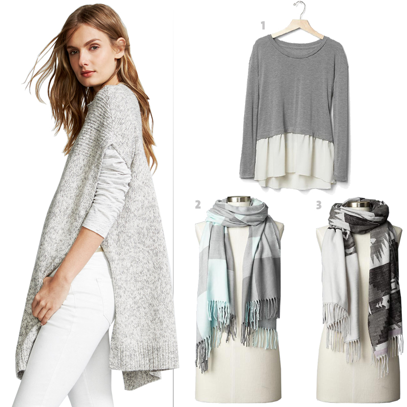 On model: Old Navy's Marled Mock-Neck Poncho Sweater, 1. Gap long-sleeve t-shirt, 2. Gap's cozy buffalo plaid scarf, 3. Gap's Cozy southwestern scarf