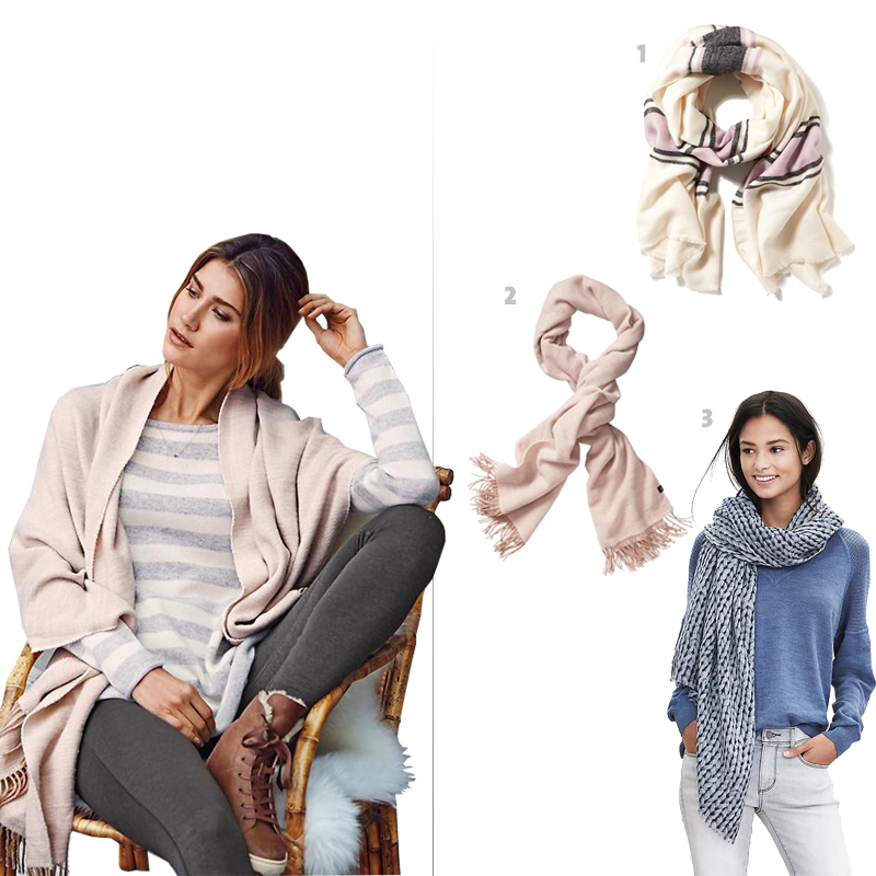 On model and #2: Athleta's Soft Crossdye Blanket Wrap, 1. Old Navy's Oversized Striped Scarf,  3. Banana Republic's Cora Scarf