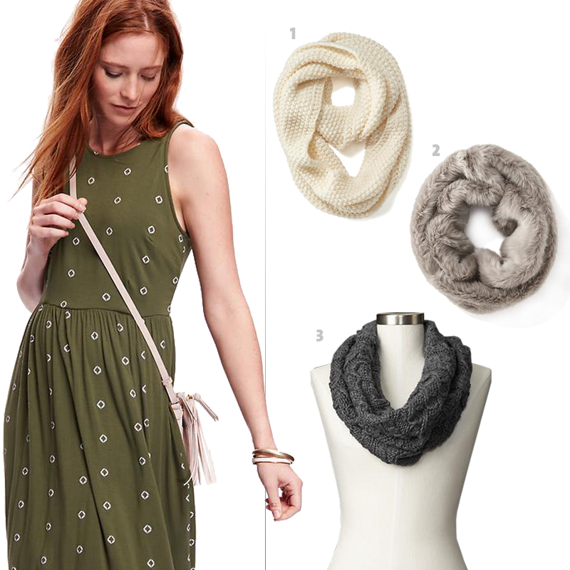 On model: Old Navy's Jersey Midi Tank Dress, 1. Old Navy's Women's Chunky Knit Infinity Scarf, 2. Old Navy's Faux-Fur Funnel Scarf, 3. Gap's Honeycomb cable-knit cowl scarf