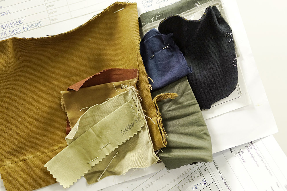 Banana Republic color swatches for men's chinos.