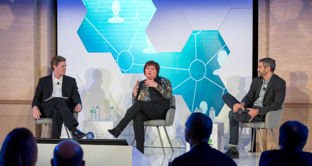 (left to right) Ryan McInerney, Margaret Keane and Sebastian DiGrande discuss partnerships, innovation and customer experience at the FinTech Ideas Festival