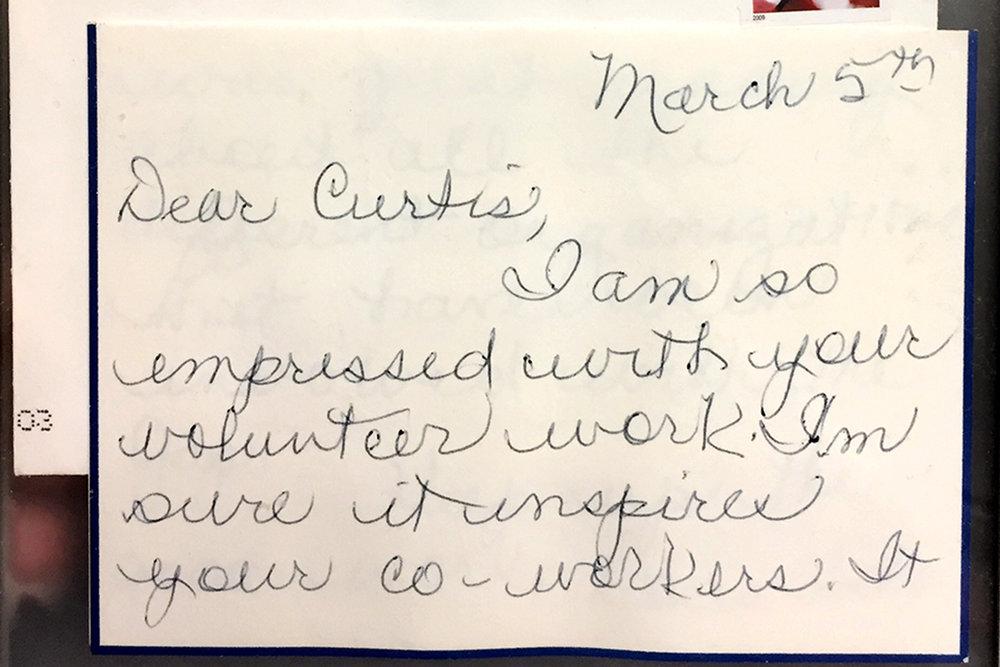 Handwritten note from Gap co-founder Doris Fisher to Curtis Pinkerton.