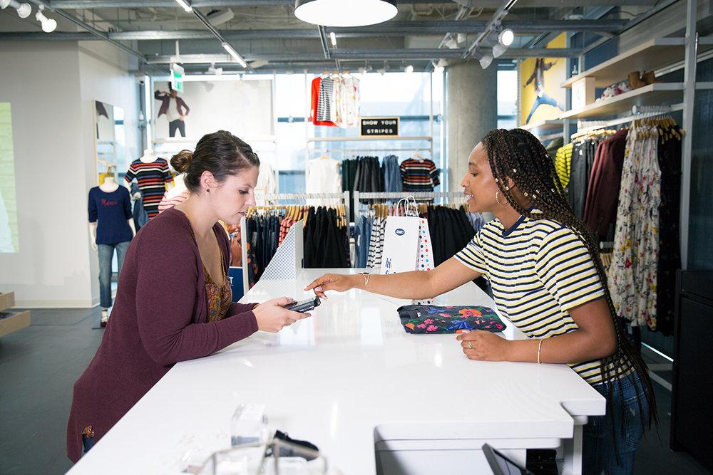 Gap Inc customer at checkout