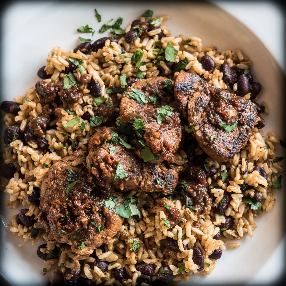 Spicy Pork Tenderloin with black beans and rice