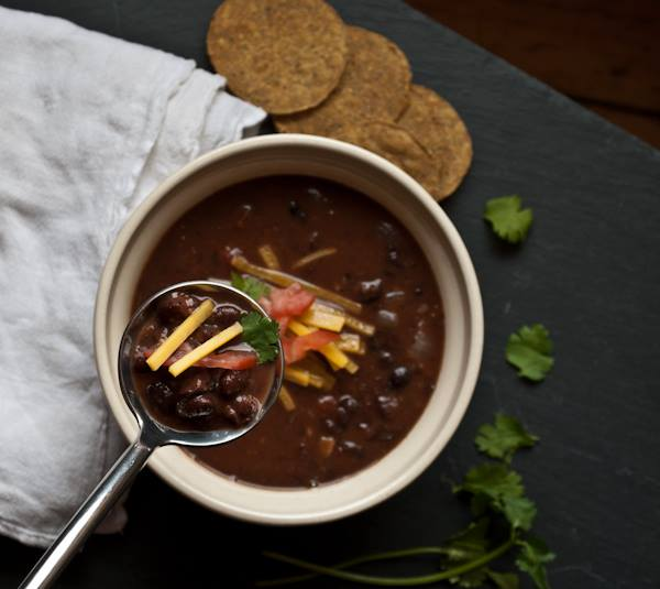 BLACK BEAN SOUP.  Ours is more soupy and more flavorful than most.
