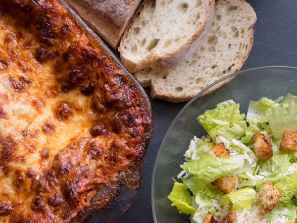 OUR LASAGNA features house-made marinara (which features house-ground beef!), ricotta, and fresh mozzarella.  Try it with a Caesar or Market Salad!