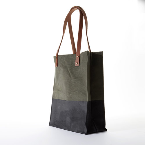 7fec701cc waxed canvas tote - olive green
