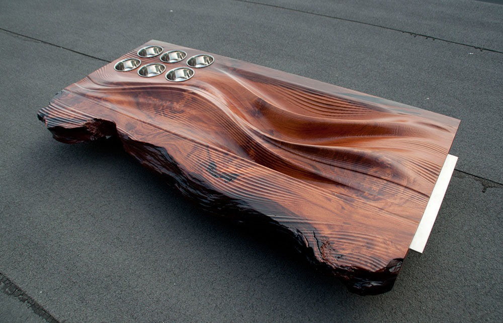 Custom designed wood and metal oyster platter - redwood and stainless steel.