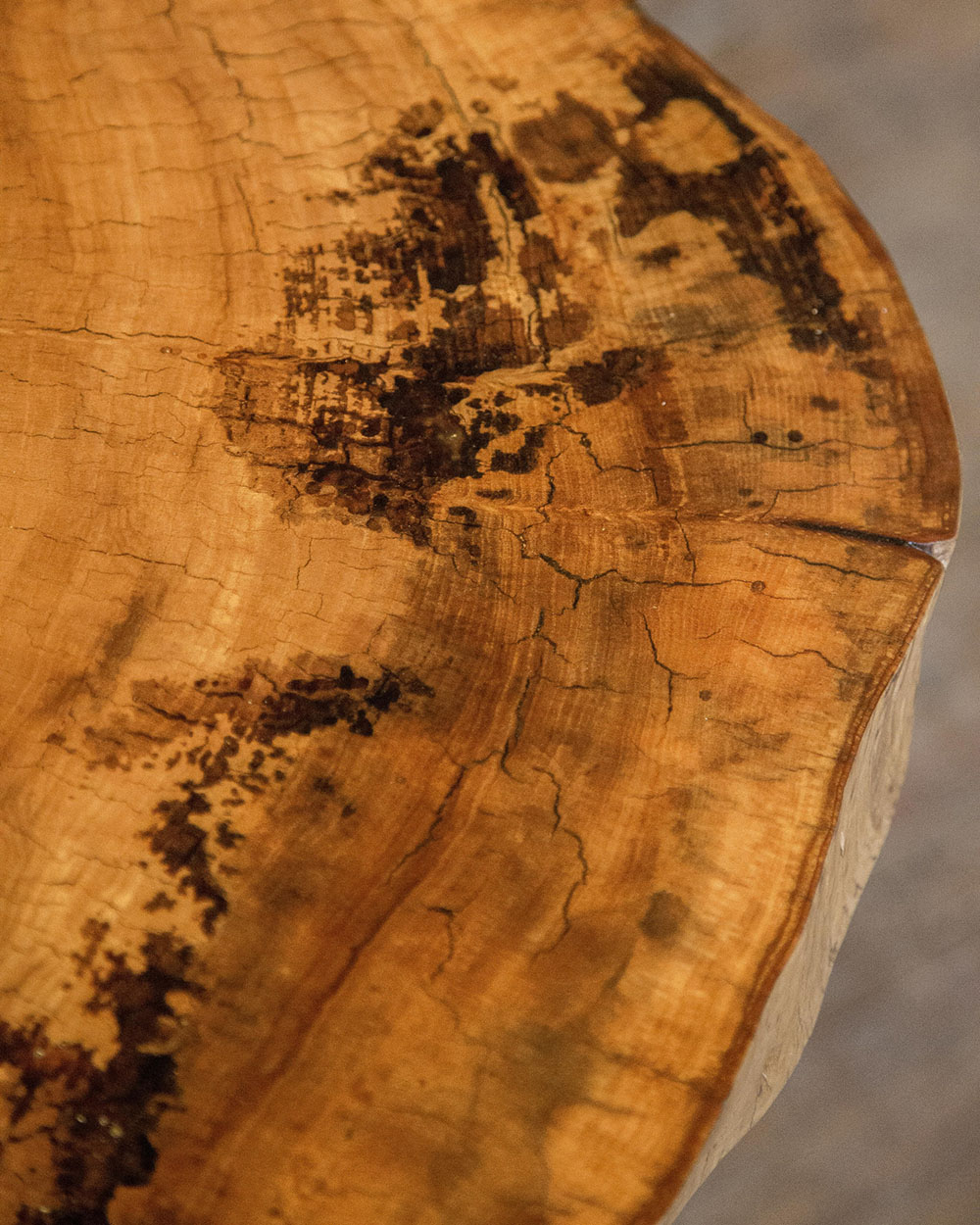 Close-up detail of the natural variation in the elm surface of a made to order table by STACKLAB.