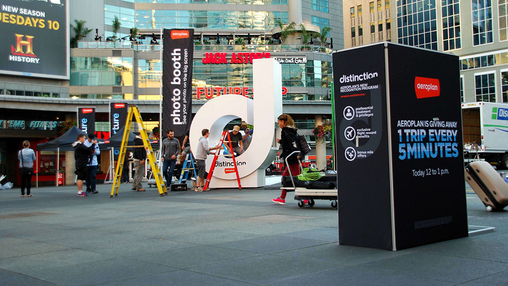 Interactive advertising installation for Aeroplan in Toronto's Yonge-Dundas Square.