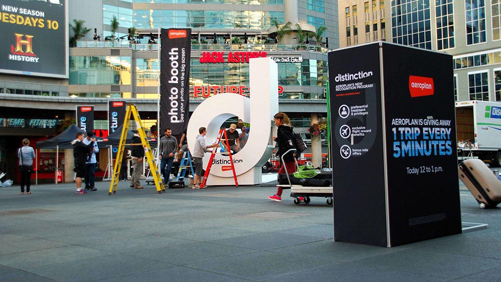 Interactive advertising installation for Aeroplan in Toronto's Yonge-Dundas Square.