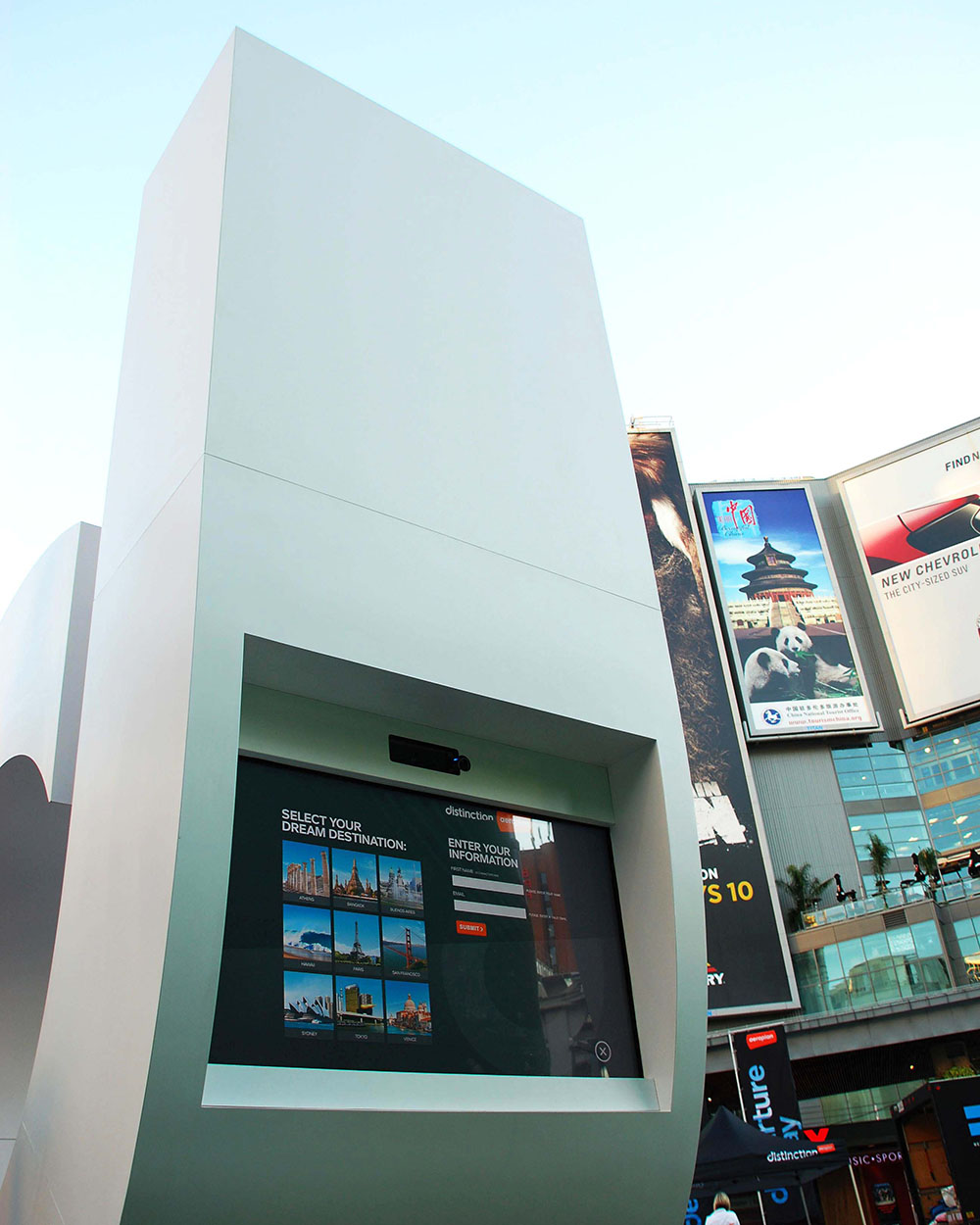 Touch-activated screen used by participants to interact with Aeroplan advertising installation.