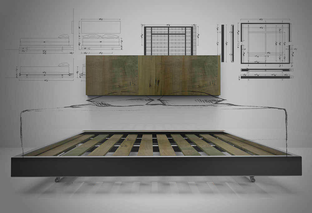 Drawing of a custom bed frame and headboard made of oxidized maple and steel by STACKLAB.