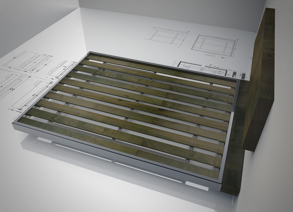 Rendering showing the construction of a bed designed by STACKLAB.