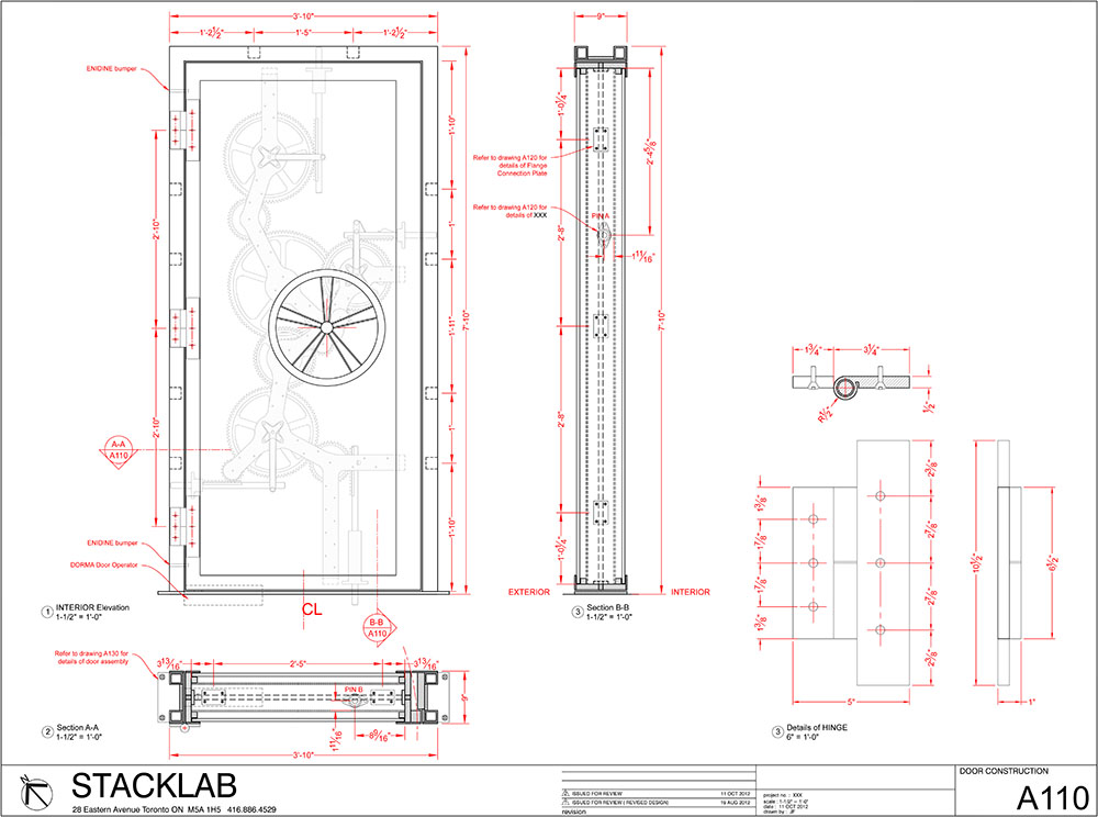 Schematic design for custom vault door with piston actuators.