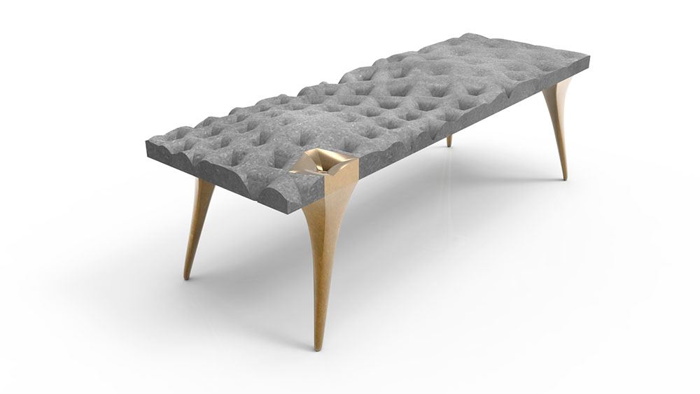 Conceptual drawing of custom solid bronze legs, shown on a concrete bench.