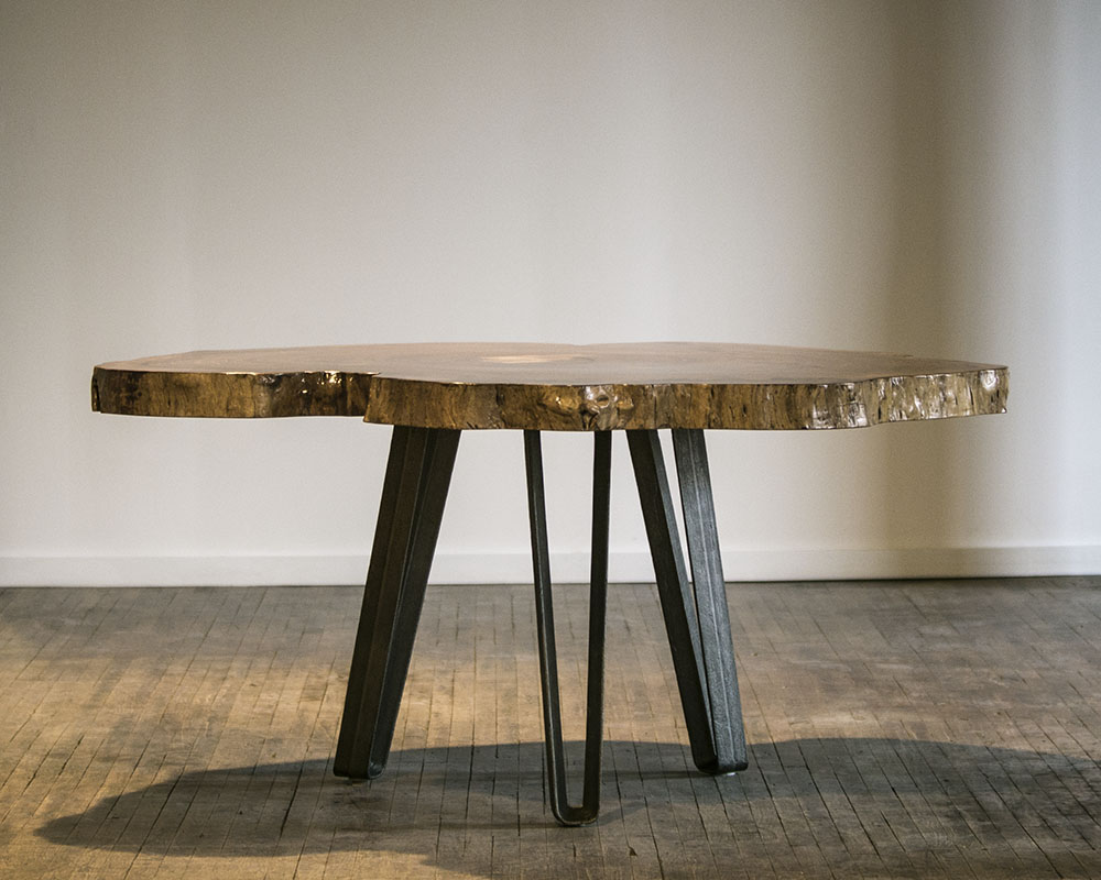 Custom elm table, designed and fabricated by STACKLAB.