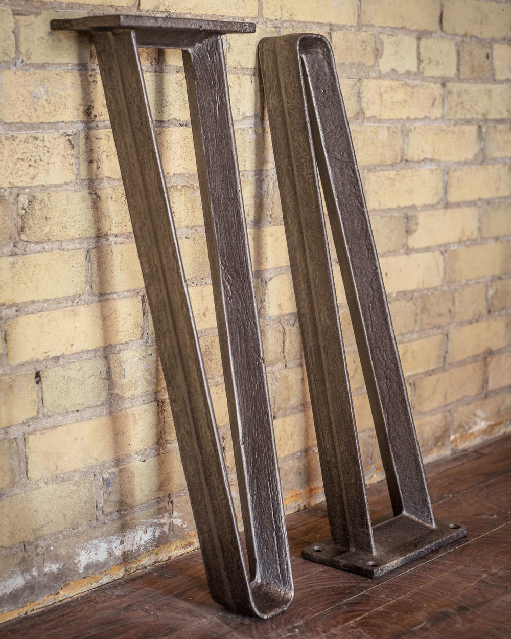 Custom cast iron table legs, made to order by STACKLAB.