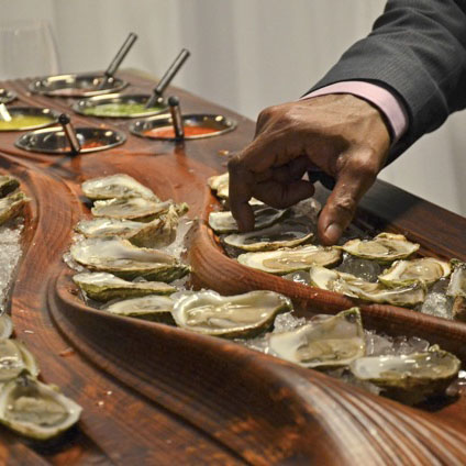 "Custom made ""Oyster Road Case"" in use - catering."
