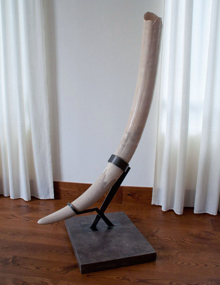 Custom stand for heirloom elephant tusk - pewter and limestone.