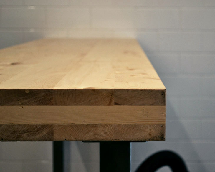 Cross Laminated Timber table designed by STACKLAB for Richmond Station restaurant in Toronto.