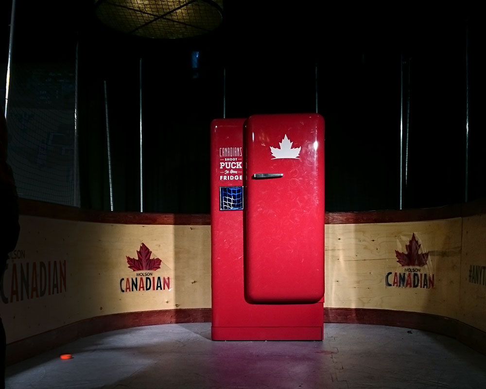 Molson Slap Shot Fridge interactive advertising installation in situ.