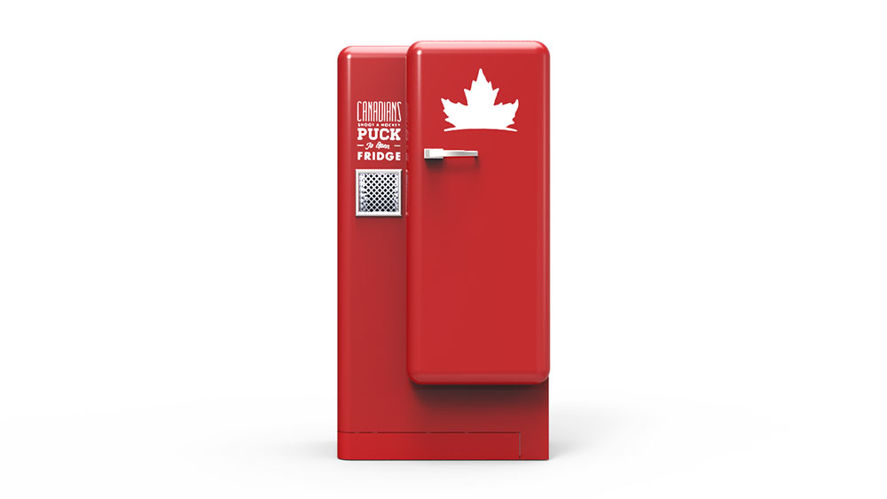 Molson Beer Fridge interactive advertising instalment - STACKLAB rendering showing design.